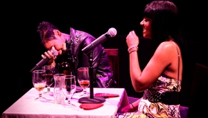 Jean Grae & I sharing an inside joke in front of a live studio audience.